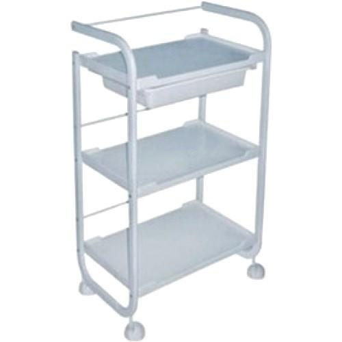 Carrito 3 estantes con ruedas con cajon blanco taburetes for Carrito auxiliar con ruedas